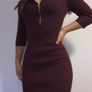 maroon bodycon sweater dress